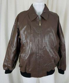 b22625dc91bed Scandia Woods Brown Leather Jacket Black Fleece Lined Flight Bomber Mens L  Zip