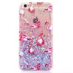 Flamingo Blue Liquid Glitter Hearts iPhone Case
