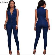 a72187d2d4 ... Buy Womens Jeans Jumpsuits Denim Long Pants Sexy Deep V Neck Slim Overalls  Jumpsuit Girl Sleeveless Club Wear Bodysuit Romper Zipper from Reliable  women ...
