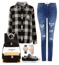 """""""Untitled #1086"""" by cecilialukas ❤ liked on Polyvore featuring Rails, IRO, Converse, Balenciaga and Jessica Carlyle"""