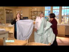 """How to fold a fitted sheet. Martha Stewart. I was at the marine flea market speaking with a man who couldn't fold a fitted sheet. I told him about a video my neighbor had told me about. He said his wife would be suspicious if he suddenly knew how to fold a fitted sheet the right way. I laughed, """"She would probably think you were 'sheeting' on her with another woman!"""" I like this video."""