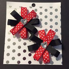 Polka Dot Hair Bow Set Choice of 5 Colors  by CleverCreationsByMe