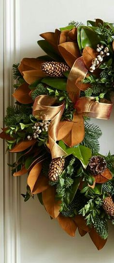 Copper ribbon wreath from Williams Sonoma