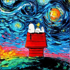 Snoopy Art - Peanuts Cartoon Starry Night print van Gogh Never Saw Woodstock by Aja 8x8, 10x10, 12x12, 20x20, and 24x24 inches choose size by SagittariusGallery on Etsy https://www.etsy.com/listing/265111078/snoopy-art-peanuts-cartoon-starry-night