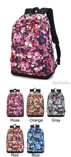 Which color do you like? Romantic Floral Flower Rose Printed School Backpack Travel Bags #bag #school #college #floral #backpack #rucksack