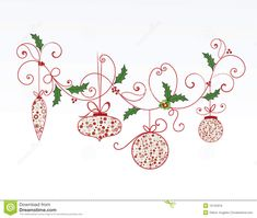 Elegant christmas flourish and baubles. Christmas baubles hanging from elegant f , Xmas Ornaments, Christmas Baubles, Christmas Themes, Christmas Cards, Christmas Clipart Border, Christmas Border, Elegant Christmas, Vintage Christmas, Snowflake Outline