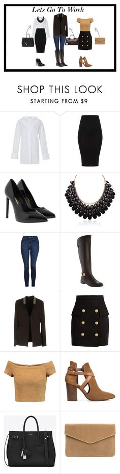 """""""Lets Go To Work"""" by dancealert12 on Polyvore featuring Yves Saint Laurent, Adoriana, Topshop, Anne Klein, Brunello Cucinelli, Balmain, Alice + Olivia, H London and Balenciaga"""