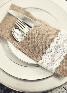 burlap silverware setting