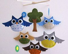 Spring Birds and Owls Mobile  Baby Mobile  Hanging por lovelyfriend