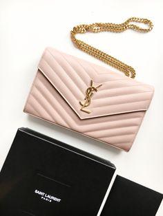 ysl saint laurent paris yves saint laurent pink gold woc wallet on chain unboxing bag