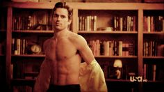 And Matt Bomer in a library. | 19 GIFs Of Celebrity Men Getting Undressed Just For You