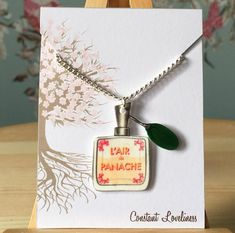 "L'Aire de Panache parfume bottle Necklace - Digitally Drawn Plastic Necklace on a 16"" silver plated chain The Grand Budapest Hotel Inspired"