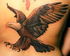 Eagle and snake Tattoo Eagles are powerful birds known for their enormous size and fast, effortless flight. Eagle tattoo is a popular tattoo idea for man Retro Tattoos, Patriotische Tattoos, Feather Tattoos, Body Art Tattoos, Tattoos For Guys, Cool Tattoos, Fun Tattoo, Wing Tattoos, Celtic Tattoos