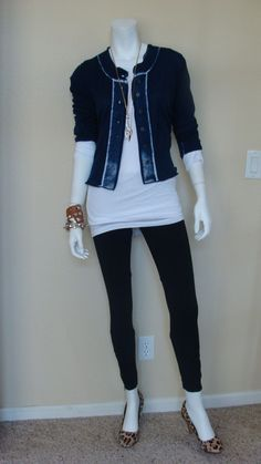 Daily Look  CAbi Spring '13 Sheer Tee, Simple Cami and Centerfield Cardigan with Ponte Leggings, cheetah print pumps and gold jewelry.