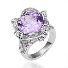 Plated White Gold Ring 3D Crown Round Amethyst Zirconia Ring