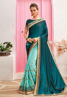 Buy Blue Chanderi Silk Half N Half Saree 212076 with blouse online at lowest price from vast collection of sarees at Indianclothstore.com. Party Wear Sarees Online, Online Shopping Sarees, Chanderi Silk Saree, Art Silk Sarees, New Fashion Saree, Indian Fashion, Stone Work Blouse, Saree Models, Half Saree
