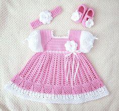 Vestido de bebé niña  zapatos  diadema de ganchillo