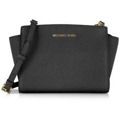 Michael Kors Handbags Selma Medium Black Saffiano Leather Messenger ($190) ❤ liked on Polyvore featuring bags, messenger bags, black, handbags, zip top messenger bag, michael kors bags, michael kors and logo messenger bag