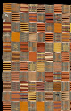 Africa | Detail: Women's cloth, Ewe, Ghana, early C20th. An exceptionally well woven and beautiful piece.