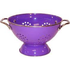 Enameled Stainless Steel Colander in Purple