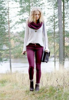 Cool Winter Outfits for 2014 - wine color Fashion Weeks, Winter Fashion Outfits, Fall Winter Outfits, Autumn Winter Fashion, Casual Outfits, Cute Outfits, Fall Fashion, Fashion 2015, Color Fashion