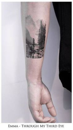 Black and grey landscape tattoo on Daryl's left forearm. Tattoo artist: Emma Bundonis