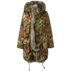 FUR TRIM CAMOUFLAGE PARKA ❤ liked on Polyvore featuring outerwear, coats, fur trim coats, camouflage parka, brown parka coat, brown coat and parka coats