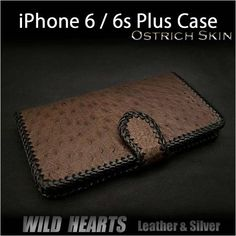 Ostrich is a luxurious leather well know for its softness, flexibility and durability.   Genuine Ostrich Leather iPhone 6/6s Plus Case Wallet Cover Case Handmade WILD HEARTS Leather&Silver (ID ip3018r49)   http://global.rakuten.com/en/store/auc-wildhearts/item/ip3018r49/