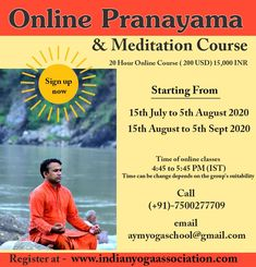 """""""Breathe in, breathe out, change your life."""" 'Breath is Life' – Meditation & Pranayama course Boost your energy, immunity, and mental strength! stay calm and focused in stressful situations or just optimize your performance, this course can help. Email us - aymyogaschool@gmail.com Call or Whatsapp us - +91-7500277709 #meditation #pranayama #health #wellness #onlineyoga #onlinemeditation #onlinepranayama #beginnersyoga #yogalover #yogaforall #aymyogaschool"""