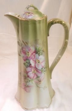 VINTAGE Nippon Chocolate Pot Reproduction Handpainted Blossoms Gold Trim