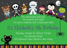 Items Similar To Trick Or Treat Halloween Birthday Invitation