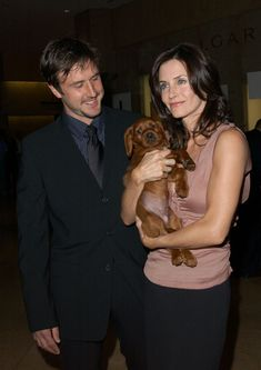 David Arquette, Courteney Cox and dog.