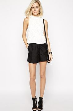 Outfit #1: River Island Lace Turtle Shell Top ($39), ASOS Linen Pleat Shorts ($35) and Steve Madden Stretche Black Heeled Sandals ($101).
