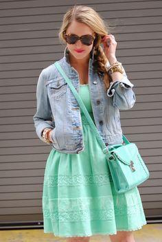 Denim jacket and mint jacket inspiration |Amanda's Fashion Outfits