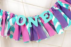 Mermaid First Birthday ONE banner - Pink, Purple and Aqua Birthday - Photoshoot Prop - Garland First Birthday Party Decor on Etsy, $16.00