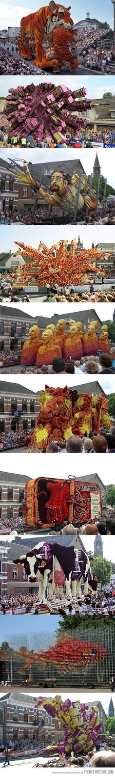 Corso Zundert in the Netherlands: these are all covered with flowers…The Dutch Rose Bowl Parade! Tachisme, Rotterdam, Rose Bowl Parade, Pop Art, 3d Modelle, Amazing Art, Awesome, Amazing Places, All Covers