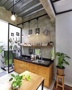 Small kitchen design and ideas for your small house or apartment, stylish and efficient. Modern kitchen ideas - with island and storage organization kitchen industrial Small Kitchen Ideas : with Island & Cabinets Kitchen Island Storage, Outdoor Kitchen Cabinets, Outdoor Kitchen Design, Dirty Kitchen Design, Dirty Kitchen Ideas, Modern Cabinets, Kitchen Islands, Storage Cabinets, Apartment Kitchen