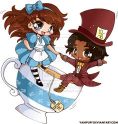 Alice and the Mad Hatter Chibi Couple Commission by YamPuff.deviantart.com on @deviantART