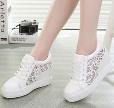 Womens Ladies Heel Wedge Trainers lace Mesh platform girls sneakers shoes size | eBay