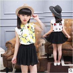 11.88$  Watch here - http://alixf9.shopchina.info/go.php?t=32799609317 - Kids girls sleeveless suit 2017 new summer children's Chiffon sleeveless shirt + black skirt  two pieces girl clothes 2-12 years 11.88$ #buyininternet