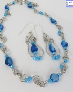 Wire wrap mother of pearl blue beads necklace - IsraeliMade