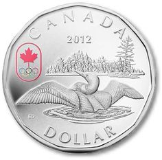 The Royal Canadian Mint is proud to issue Canada's latest commemorative circulation coin, the 2012 Lucky Loonie. Canadian Coins, I Am Canadian, Canadian Girls, Canadian History, Bullion Coins, Silver Bullion, Olympic Logo, Olympic Team, Olympic Games