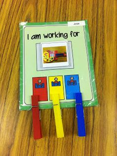 Centers - students receive a clip at each center for completing the task.  When centers are done they earn their reward item.  If they are missing a clip, they must go back and finish that center before break is earned.