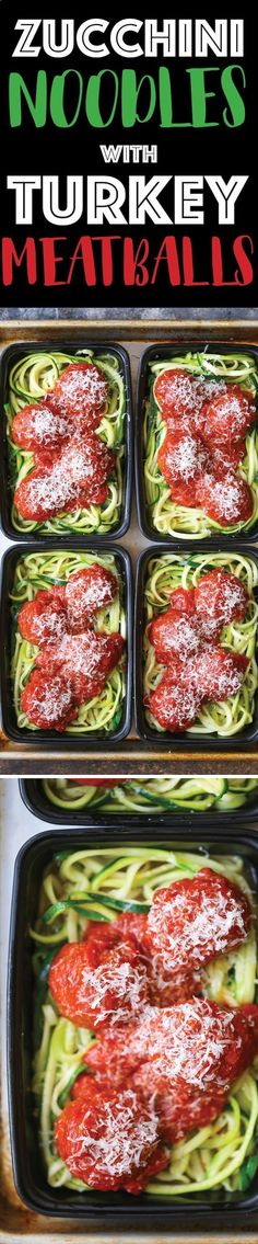 Zucchini Noodles with Turkey Meatballs - These make-ahead meal prep boxes will make you forget all about pasta. Its light, healthy and low carb!http://damndelicious.net/2017/01/20/zucchini-noodles-with-turkey-meatballs/