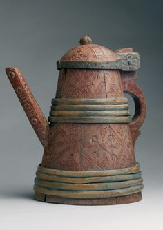 Robert Young Antiques - Collection. Rare Large Ceremonial Ale Jug, Scandinavian c18th. #Treen #FolkArt