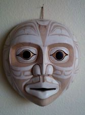 Northwest Coast Salish Haida Wood Hand Carved Man Face Mask Tribal Folkart