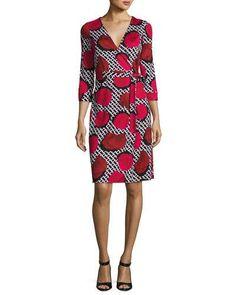 TDEQA Diane von Furstenberg New Julian Two Jersey Wrap Dress, Poppy Chain Rose