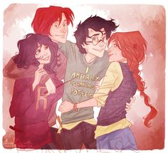Hermione, Ron, Harry, Ginny-We are family!