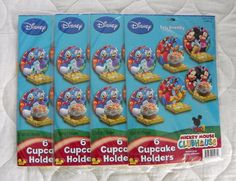 New Lot of 4 Disney Hallmark MICKEY MOUSE CLUBHOUSE Cupcake Holders 24 Total #DisneyHallmark