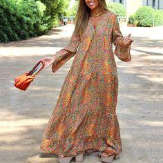 Lady Fork Half Sleeve Striped Multicolor Loose Button Bohe Beach Long Robe Dress